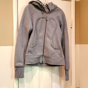 Lululemon grey,  front zippered hoodie. Size 8.